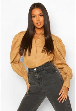 Cotton Mix Pointed Collar Shirt, Sand beige