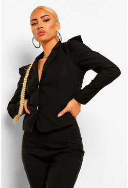 Black Bengaline Shoulder Detail Blazer