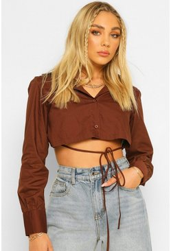 Chocolate brown Cotton Mix Tie Back Shirt
