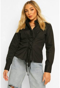 Cotton Mix Lace Up Waist Shirt, Black nero