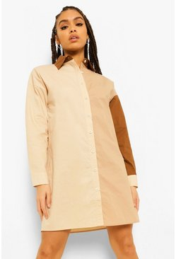 Stone beige Cotton Mix Colour Block Oversize Shirt Dress
