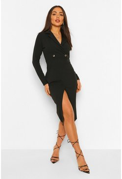 Long Sleeve Wrap Midi Blazer Dress, Black noir