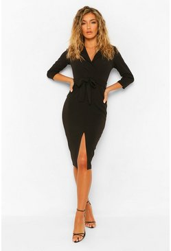 Black Split Front Belted Midi Blazer Dress