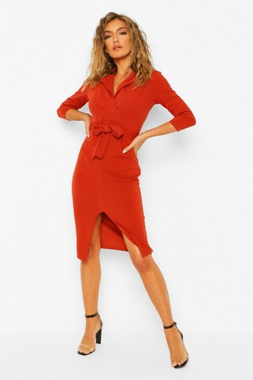 Rust orange Split Front Belted Midi Blazer Dress