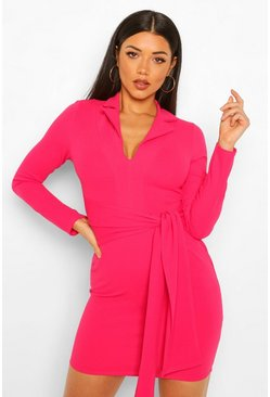 Hot pink pink Belted Blazer Dress