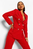 Red Tailored Diamante Button Blazer