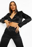 Black Satin Tailored Crop Blazer