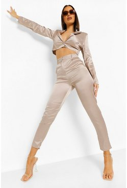 Satin Crop Blazer & Pants Suit Set