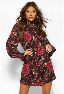 Black Floral High Neck Midi Shift Dress