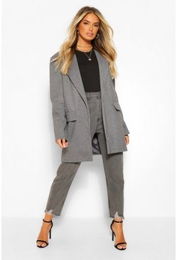 Grey Woven Check Oversized Boyfriend Blazer