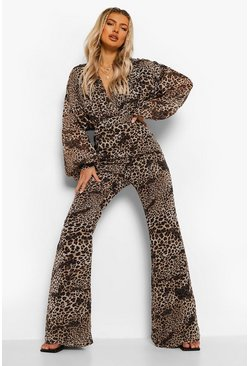 Brown Leopard Print Chiffon Wrap Wide Leg Jumpsuit