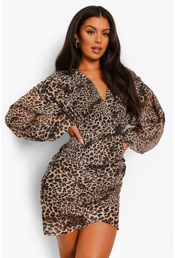 Brown Leopard Print Chiffon Ruched Wrap Dress