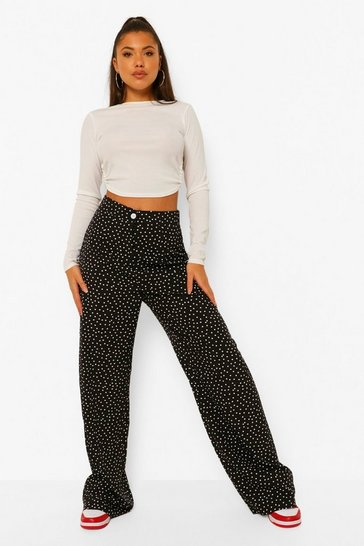 Black Polka Dot High Waisted Wide Leg Trousers