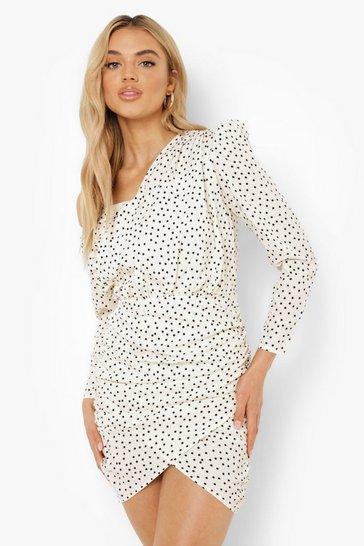 White Polka Dot Ruched Asymmetric Dress