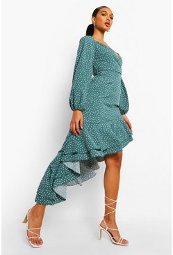 Green Polka Dot Frill Hem Asymmetric Midi Dress