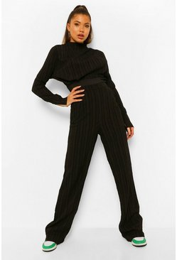 Black Textured High Waisted Wide Leg Trousers