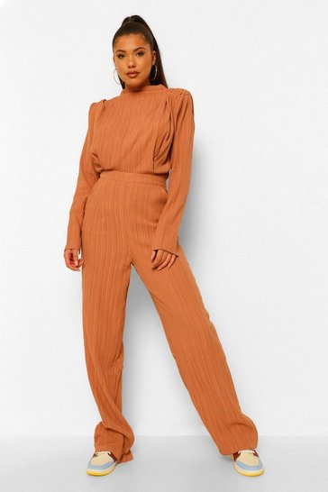 Rust orange Textured High Waisted Wide Leg Trousers