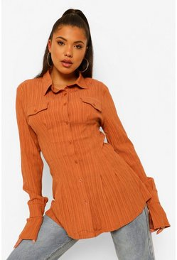 Rust orange Getailleerde Blouse Met Textuur