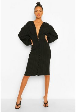 Black Textured Button Front Midi Dress