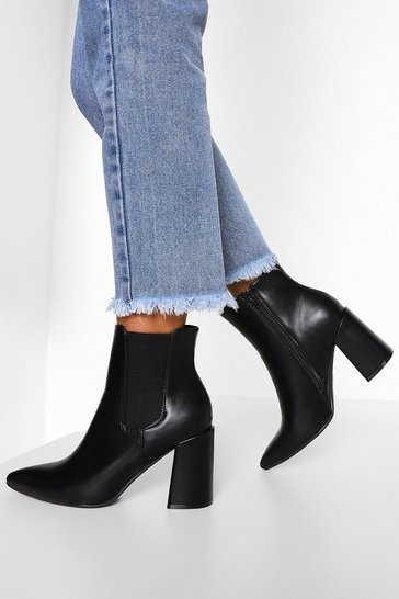 Black Block Heel Pointed Toe Chelsea Boots