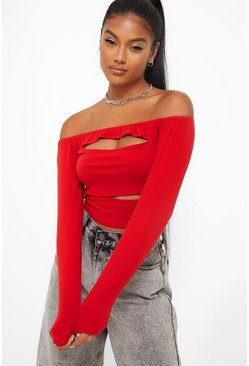 Soft Rib Off The Shoulder Crop Top, Red Красный