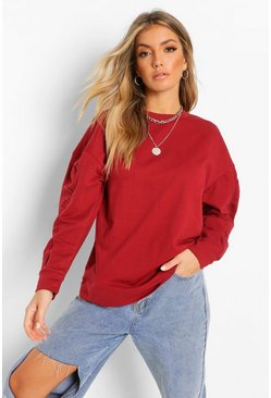 Berry red Oversized Ruched Sleeve Sweater