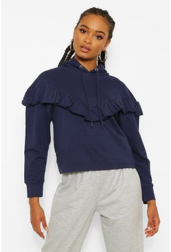 Navy Frill Oversized Hoodie