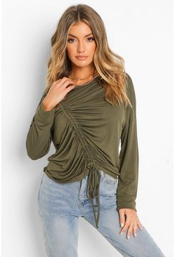 Khaki Ruched Front Top