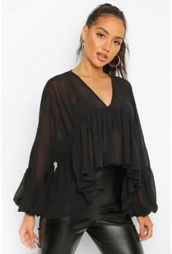 Black Ruffle Camisole Layer Smock Blouse