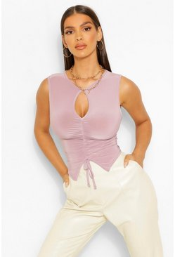 Slate grey Slinky Ruched Front Cut Out Detail Top
