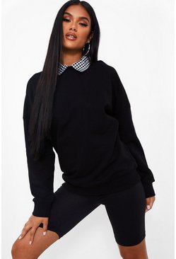 Black svart Gingham Collar Detail Oversized Sweater