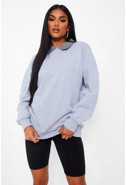 Grey marl grå Gingham Collar Detail Oversized Sweater