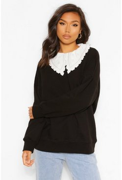 Black Woven Collar Detail Oversized Sweatshirter