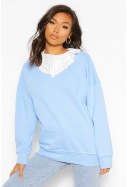 Pale blue Woven Collar Detail Oversized Sweater