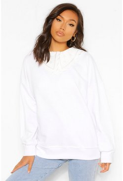 White Woven Collar Detail Oversized Sweatshirter