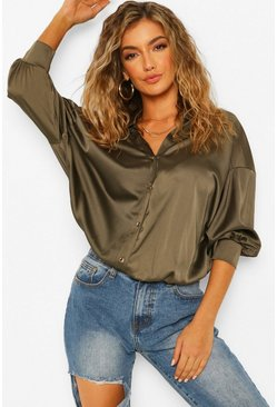 Satin Drop Shoulder Shirt , Khaki Хаки