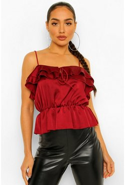 Berry red Satin Ruffle Cami Top