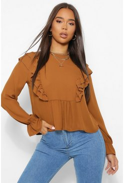 Terracotta Woven Ruffle Shoulder Smock Top