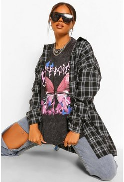 Charcoal grey Official Butterfly Gebleekt Oversized T-Shirt