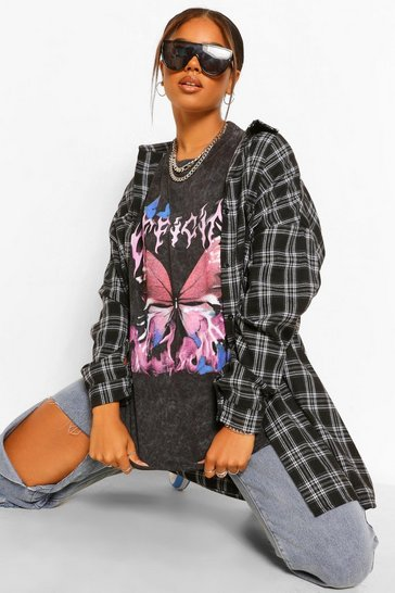 Charcoal grey Official Butterfly Acid Wash Oversized T-Shirt