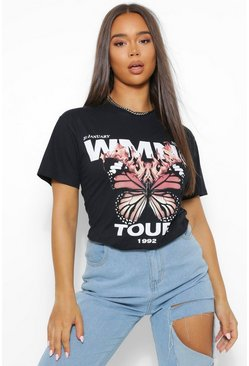 Black Flame Butterfly Woman Print T-Shirt