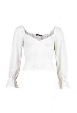 Ivory Plunge Frill Detail Top
