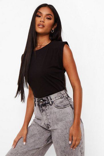 Black Shoulder Pad Cropped Tee