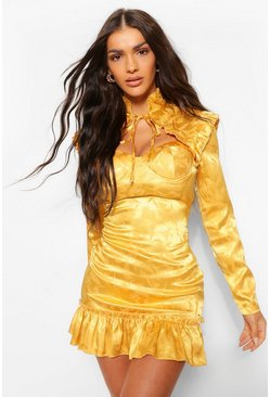 Mustard yellow Satin Jacquard Cupped Frill Hem Dress