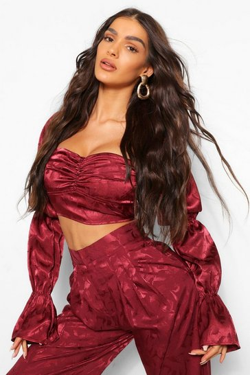 Burgundy red Satin Jacquard Button Front Crop Top