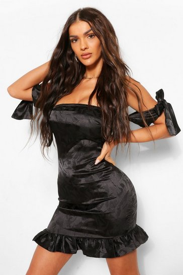 Black Satin Jacquard Frill Hem Strapless Dress