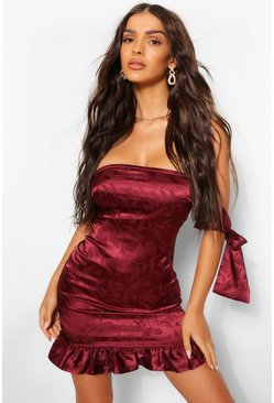 Burgundy red Satin Jacquard Frill Hem Strapless Dress