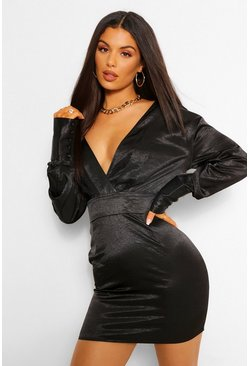 Black Hammered Satin Off The Shoulder Mini Dress
