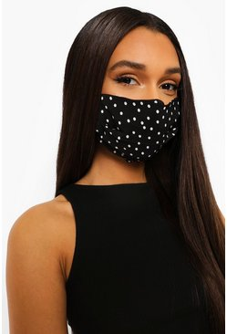 Black Polka Dot Adjustable Fashion Face Mask