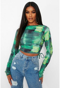 Green Tie Dye Ruched Side Long Sleeve Crop